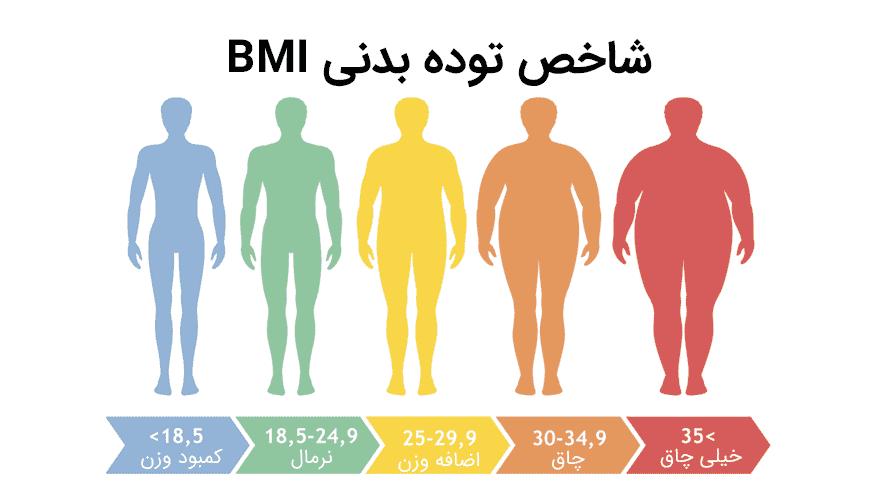شاخص توده بدنی بین ۱۸٫۵ تا ۲۴٫۹