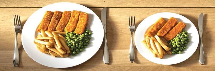 توجه به مقدار غذای مصرفی: